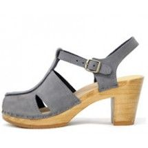 No. 6 clog t-strap on high heel in ash