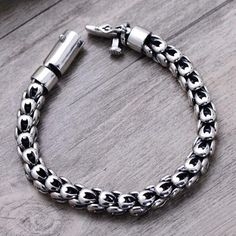 Men's Sterling Silver Dragon Squama Chain Bracelet