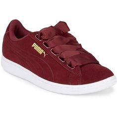 PUMA Vikky Suede Sneakers (1.415 UYU) ❤ liked on Polyvore featuring shoes, sneakers, puma trainers, lace up sneakers, red suede shoes, platform lace up shoes and suede sneakers