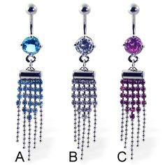 Belly button ring with jeweled dangles