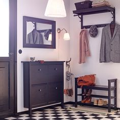 IKEA - HEMNES, Hat rack, black-brown, Different wall materials require different types of fasteners. Use fasteners suitable for the walls in your home. Coordinates with other furniture in the HEMNES series. Entrada Ikea, Hall Entrada, Ikea Mud Room, Ikea Hemnes Shoe Cabinet, Shoe Cabinet Entryway, Ideas Armario, Entryway Storage, Ikea Entryway, Entryway Ideas