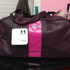 UNDER ARMOUR Universal Duffel Bag All purpose duffel bag in ox blood & rebel pink color combination. It has large maun compartment w/ top zipper, vertical flat iron pocket, interior pockets for added organization, removable laundry bag and removable over the shoulder straps. Material: 600 D polyester w/ abrasion resistant PU coating. New w/ tag. Under Armour Bags Travel Bags