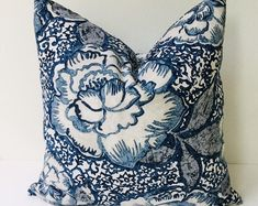 Chinoiserie Pillow Cover Tree Peony Pillow Cover Bird | Etsy Navy Blue Throw Pillows, Turquoise Pillows, Floral Pillows, Shabby Chic Chairs, Shabby Chic Pink, Coral Blue, Coral Turquoise, Romantic Wedding Decor, Slipcovers For Chairs