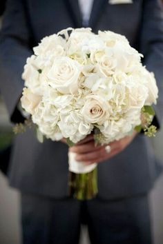 Wonderful White Round Bridal Bouquet Featuring White Hydrangea, White Roses, White Stephanotis & Green Seeded Eucalyptus>>>>
