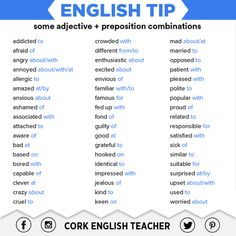 English Tip: some adjective + preposition combinations English Vinglish, English Verbs, English Tips, English Phrases, English Writing, English Study, English Lessons, English Grammar, Learn English