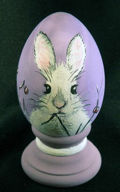 Hand painted wooden egg - freestanding. Photograph is sample, each egg is hand painted to order, some variations may appear. Please let us know if