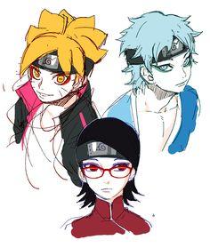 Tags: Fanart, NARUTO, Pixiv, PNG Conversion, Fanart From Pixiv, Noeunjung93, Uchiha Sarada, Uzumaki Boruto, Mitsuki (Naruto)