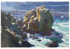 Painting of Pacific Coast, Carmel, California by Mike Hernandez Turtle Bay Hawaii, Abstract Landscape, Landscape Paintings, Vasquez Rocks, Rocky Point, Art Easel, Ocean Scenes, Guache, Yosemite Valley