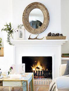 Awesome Cool Tips: Coastal Fireplace Fixer Upper coastal dining beautiful.Elegant Coastal Bedroom coastal decor Home Curb Appeal. Fireplace Mantle, Fireplace Surrounds, Simple Fireplace, Rustic Mantle, White Fireplace, White Mantle, Mantle Mirror, Farmhouse Fireplace, Mirror Mirror