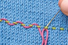 Embroidering knitting - part 2 by TheKnitter.themakingspot.com includes running stitch, threaded running stitch & whipped running stitch