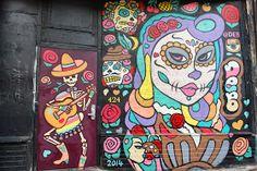 Ed Abillano: Today's Street Art - Dia De Los Muertos - Muejer by Deb Street Art, Day Of The Dead