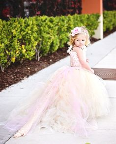 Lace Flower Girl Dress w Tutu and Detachable by BellaBeanCouture, $185.00