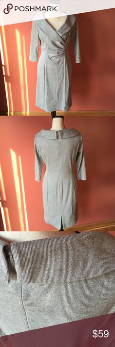 ✨HP 12/6 Tahari silver dress In great condition. Worn just once. Perfect for a classy party or a night out. Zipper in the back. Half sleeves. Bought from Nordstom. Tahari Dresses Midi