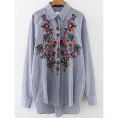 Blue Vertical Striped Flower Embroidery Dip Hem Blouse (2,140 INR) ❤ liked on Polyvore featuring tops, blouses, embroidered top, blue long sleeve blouse, sleeve blouse, blue blouse and print top