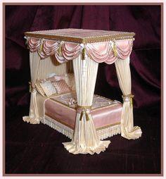 Majestic Miniature Bed - 1:12 scale - SIMPLY SILK MINIATURES