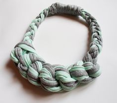 Organic cotton knotted necklace in mint and gray
