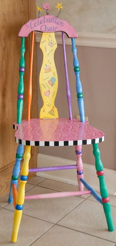Fun for birthdays and other celebrations.a Celebrate Chair - Site Title Whimsical Painted Furniture, Hand Painted Chairs, Hand Painted Furniture, Funky Furniture, Colorful Furniture, Paint Furniture, Repurposed Furniture, Furniture Projects, Furniture Makeover