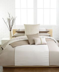 Calvin Klein Bedding, Champagne Comforter and Duvet Cover Sets  guest bedroom with Brown headboard, Macys
