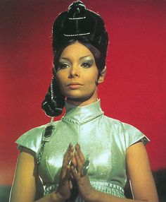 "T'Pring, born in was a Vulcan female who was bonded to Spock as a child. In when Spock began suffering from pon farr, he returned to Vulcan to mate with T'Pring. (TOS: ""Amok Time"")She was played by Arlene Martel. Star Trek Original Series, Star Trek Series, Star Trek Tv, Star Wars, Star Trek Starships, Star Trek Enterprise, Science Fiction, Star Trek Episodes, Star Trek Images"
