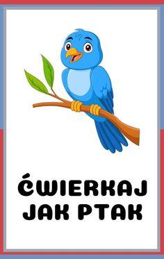 Karty ruchowe dla dzieci do druku - zwierzęta | Do druku | RodzicielskieInspiracje.pl Diy For Kids, Crafts For Kids, Infant Activities, Tweety, Montessori, Smurfs, Kindergarten, Kawaii, Education