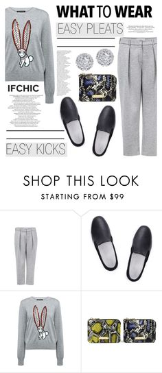 """""""What to wear:  Easy pleats-easy kicks!"""" by ifchic ❤ liked on Polyvore featuring Atea Oceanie, Amb Ambassadors of minimalism, Markus Lupfer, Mohzy and Fallon"""