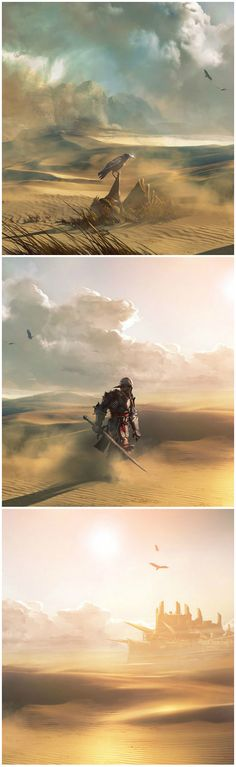 Through the Desert Towards the City, by Bioware artist Matt Rhodes, Dragon Age: Inquisition