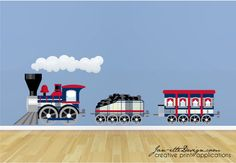 Train Wall Decal, Blue & Red Plaid Train Fabric Wall Decal by JanetteDesign on Etsy https://www.etsy.com/listing/95528867/train-wall-decal-blue-red-plaid-train