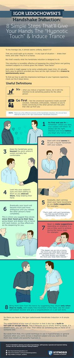 "Igor Ledochowski's Handshake Induction: 8 Simple Steps That'll Give Your Hands The ""Hypnotic Touch"" & Induce Trance Meditation Benefits, Guided Meditation, Hypnosis Scripts, Nlp Techniques, Learn Hypnosis, Hypnotherapy, Subconscious Mind, School Counseling, Body Language"