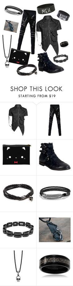 """Modern Gothic Sebastian"" by nekonightmare224 ❤ liked on Polyvore featuring A.S. 98, Jan Leslie, David Yurman, Lynx, King Baby Studio, Hot Topic, modern, men's fashion and menswear"