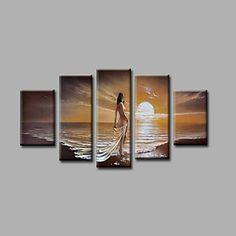 【今だけ☆送料無料】 アートパネル  人物画5枚で1セット 女性 ヌード 日の出 海岸 ビーチ【納期】お取り寄せ2~3週間前後で発送予定