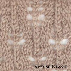 Lado direito do padrão de tricô de ponto - Lace 13: www.knitca.com