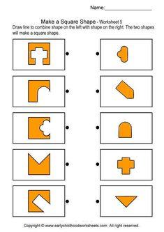 matching square shapes brain teaser worksheets for kindergarten
