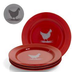 4 assiettes plates décorées d'une poule au centre pour un esprit maison de campagne sur votre table. 4 assiettes plates décorées d'une poule au centre pour un esprit maison de campagne sur votre table. En faïence. Diam. 26 cm.