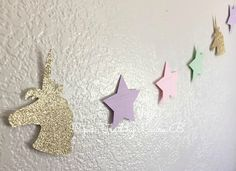 Unicorn Party Garland in Gold Glitter by PaperTrailbyLauraB