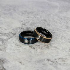 FREE Customized Engraving 2 Piece Double Set Edge Edge Tribal Solar and Moon Rings with Tungsten Bands - Tungsten Wedding ceremony Ring, Cute Jewelry, Jewelry Accessories, Emo Jewelry, Sun And Moon Rings, Tungsten Carbide Wedding Bands, Accesorios Casual, Friend Necklaces, Cute Rings, Fantasy Jewelry