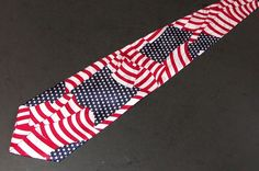 American Flag Patriotc Tie Roberto Cellini Classic Polyester Red White Blue #RobertoCellini #NeckTie