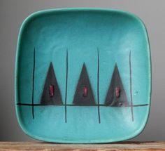 Vintage 60-70s LUPINE Green Plate/Bowl West German Pottery Art Fat Lava Vase Era