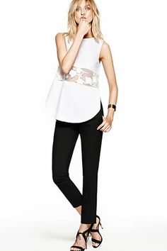 STATE Sheer Inset Cotton Top, $88, available at Nordstrom; 1.STATE Skinny Crop Pants, $88, available at Nordstrom.
