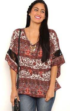 Deb Shops Bell Sleeve Tunic Top with Lace Medallion Print $9.75