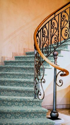 Arbor on a curved staircase.  Impressions Collection. Tuftex Carpets of California