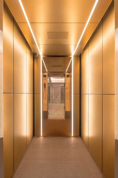 LEVELe-105 Elevator Interior with customized panel layout; panels in Fused Bronze with Seastone finish, Fused Bronze with Mirror finish; custom lighting; custom ceiling in Fused Bronze with Seastone finish at Express Towers, Mumbai, Maharashtra, India