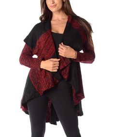 Another great find on #zulily! Black & Burgundy Color Block Open Cardigan - Plus by Diva Designs #zulilyfinds