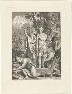 Louis E.F. Garreau | Arminius vraagt raad aan de druïden, Louis E.F. Garreau, 1783 | De druïden vragen de goden de Germaanse veldheer Arminius bij te staan in zijn gevecht tegen de legers van de Romeinse generaal Germanicus. De opperpriester wijst met zijn staf naar de hemel. Vier bliksemstralen vallen uit de hemel. De prent is een deel van de geschiedenis van generaal Germanicus.