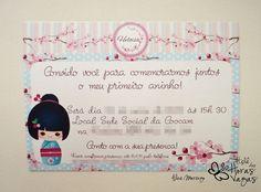 Convite Artesanal Oriental Kokeshi - Provençal flor de cerejeira