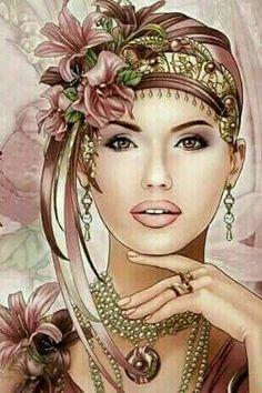 Beautiful Fantasy Art, Beautiful Artwork, Vintage Prints, Vintage Art, Art Deco Cards, Enchanted Forest Coloring Book, Art Deco Paintings, Flowery Wallpaper, Art Deco Posters