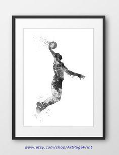 Basketball Print Player Black and White Poster No1 Basketball