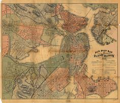1865 map of railroads and horsecar lines in and around Boston