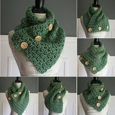 AQUA Blue cowl neck scarf with 3 wooden buttons by TootsandToad