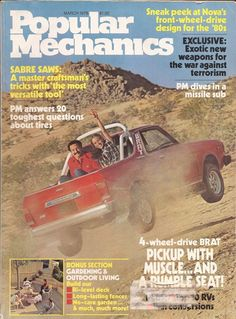 """#Subaru #BRAT on the cover of the March 1978 Popular Mechanics Magazine. """"4-wheel drive BRAT Pickup with Muscle...and a RUMBLE Seat!"""" #vintage #retro"""