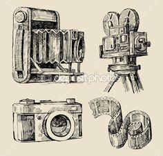 Film fényképezőgép kézzel rajzolt — Stock Illusztráció #9933955